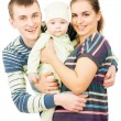 Happy parents holding the hands of his baby — Stock Photo #26270107