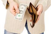 En la cartera hay un un dólar — Foto de Stock