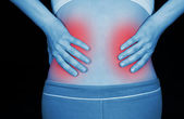 Schmerzende niere, angezeigt, rot — Stockfoto