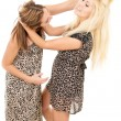 Stock Photo: Beautiful sisters swear and fight