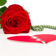 Red rose flower with hearts valentine — Stock Photo