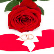 Rose ring and the two halves of the heart — Stock Photo