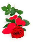 Nádherná růže se srdíčky — Stock fotografie