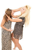 Beautiful sisters swear and fight — Stock Photo