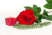 Red flower rose with wedding rings — Stock Photo