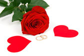 Rose with hearts and wedding rings — Stock Photo