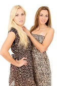 Two beautiful and happy girl posing — Stock Photo