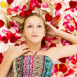 Stock Photo: Young girl lies in the petals of roses