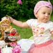 Beautiful little girl on a picnic — Stock Photo