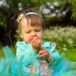 Little child is sitting in the grass — Stock Photo