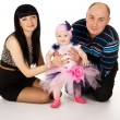 Stock Photo: Mom, dad and baby isolated