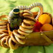 Picnic basket on the bedspread — Stock Photo