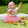 Picnic, beautiful little girl — Stock Photo