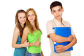 Beautiful student with her girlfriends — Stock Photo