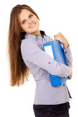Happy student with a folder — Stock Photo