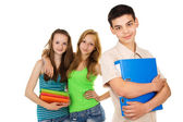 Pupils with textbooks, friends — Stock Photo