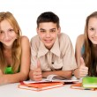 Stock Photo: Happy young students with books