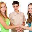 Young people holding hands — Foto Stock