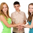 Young people, school children holding hands — Stock Photo