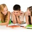 Stock Photo: Young students reading books