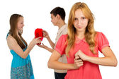 Girl is angry with envy — Stock Photo