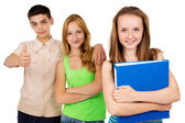 Happy student with a blue folder with your friends — Stock Photo