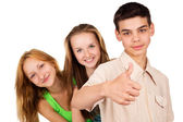 Young people show sign ok — Stock Photo