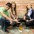 Stock Photo: Young people against smoking