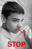 Portrait of guy Stop Smoking — Stock Photo