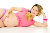 Happy pregnant girl lying — Stock Photo