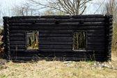Burnt wood house — 图库照片