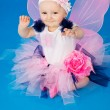 Stock Photo: Baby in costume fairies on blue background