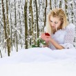 Stock Photo: Girl in wedding dress in winter