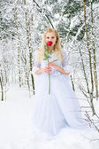 Girl in the forest in winter — Stockfoto