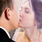 Newlyweds kiss on nature — Stock Photo #42872321