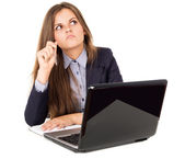 Beautiful, business girl think workplace — Stock Photo
