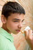 Portrait of guy smoking — Stock Photo