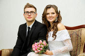 A happy young couple during the marriage — Stock Photo