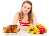 Beautiful girl on a diet — Stock Photo