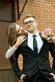 The husband and the bride hug each other — Stock Photo