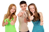 Young students show sign ok — Stock Photo