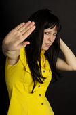 Depression, girl shows no hand — Stock Photo
