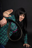 Domestic violence, battering women belt — Stock Photo