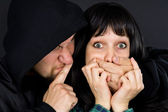 Man attacked the girl — Stock Photo