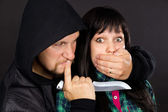 The attack on the girl robber — Stock Photo