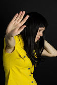 Violence, suffering girl showing stop hand — Stock Photo