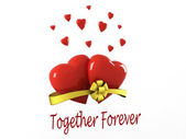 Two hearts damages caused bow and the words together forever — Stock Photo