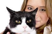 Dziewczyna i kot — Zdjęcie stockowe