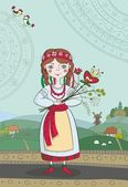 Illustration of Ukrainian girl in national dress — Stockvector