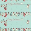 Christmas seamless pattern with birds, socks, mittens and hats o - Stock Vector